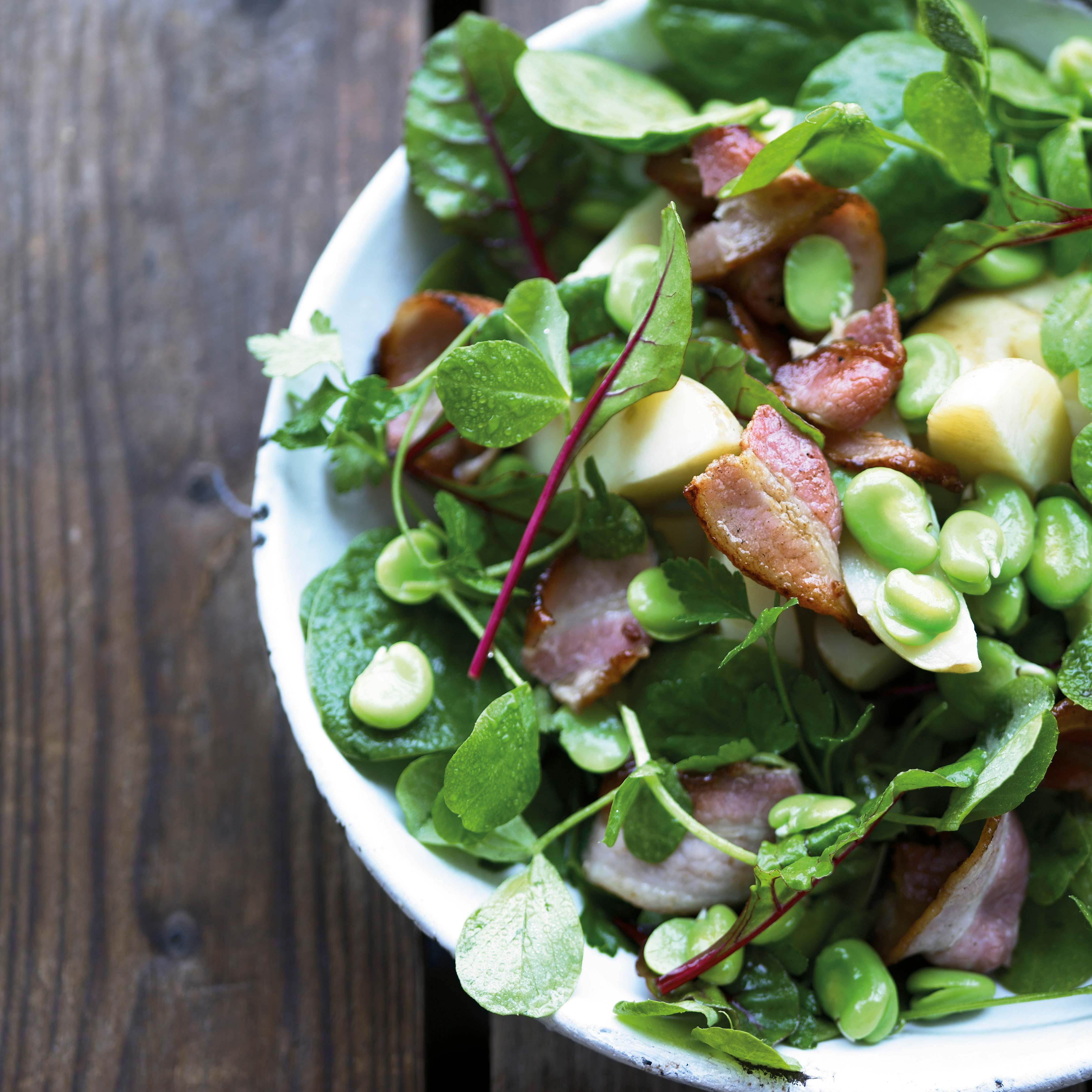 Bacon & Pea Shoots Summer Salad