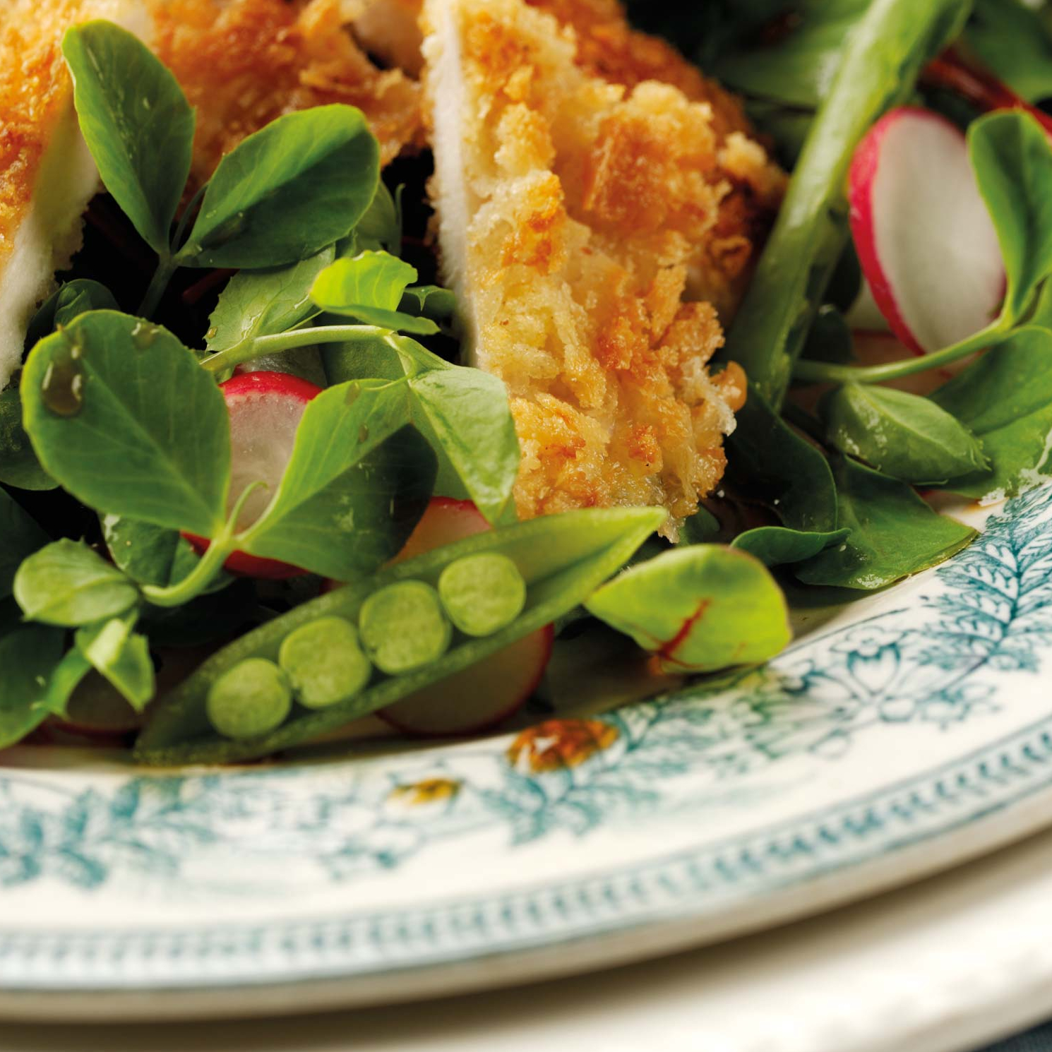 Panko Crusted Chicken with Asian Style Pea Shoot Salad